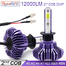 BraveWay H1 LED Light Bulbs for Car Auto Headlight H4 100W HB3/9005 BH4/9006 12000LM Led H7 H11