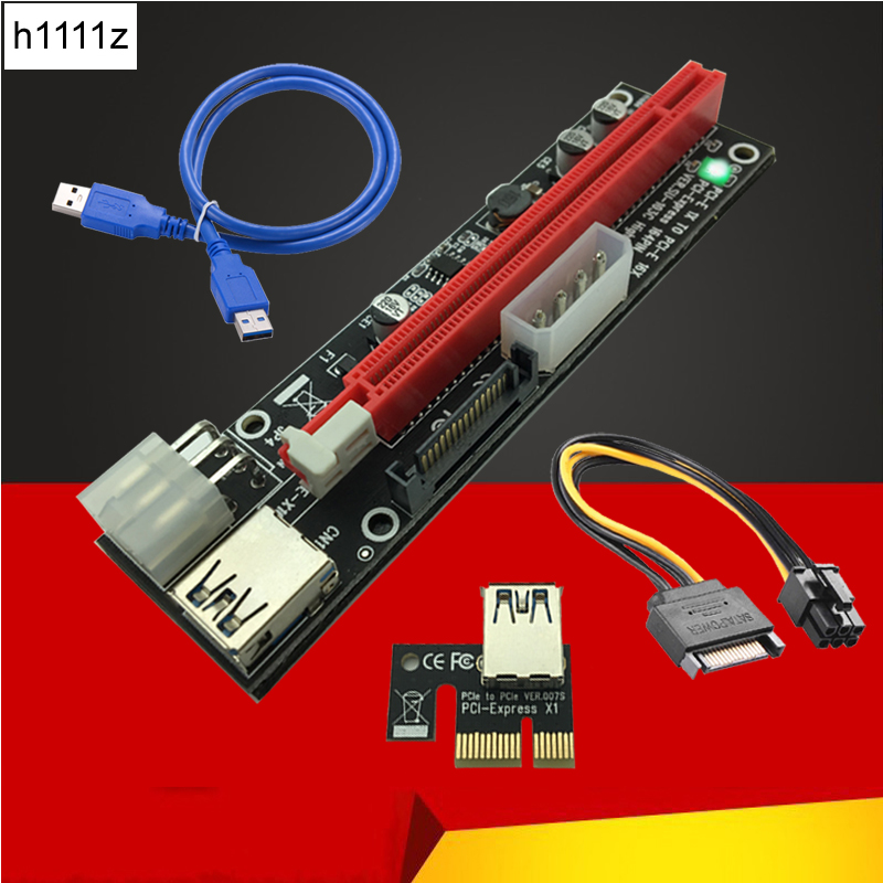 Riser Card SATA 4pin 6Pin Mining Power Supply LED USB 3.0 PCI-E 1x to 16x PCI-E Riser for Graphics Card Antminer Bitcoin Miner yunhui used btc miner antminer s5 1150g 28nm bm1384 bitcoin mining machine asic miner with power supply ship by dhl or spsr