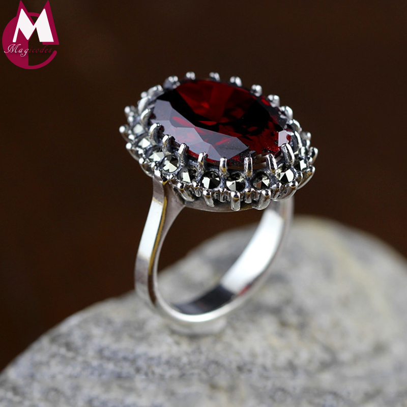 Natural Red Garnet Gemstone Rings For Women 925 Sterling Silver Wedding Rings Fine Jewelry Gifts Vintage Ruby Red Stone SR52