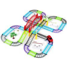 1Pc Electric Rail Trains Car Set Flashing Creative Educational Toys Race Tracks Electric Car for Family Children(China)