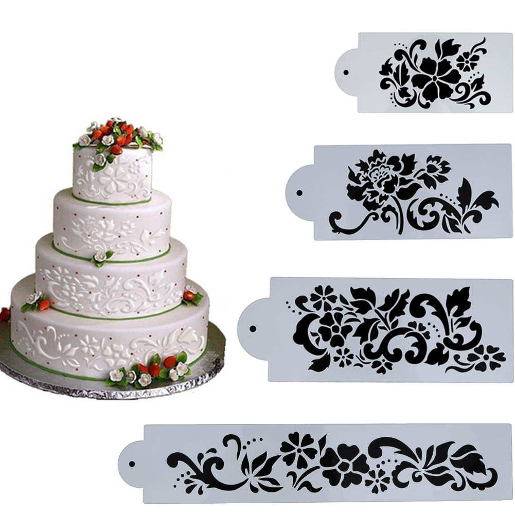 Buy 4pcs flowers cake stencil kitchen cupcake decoration template mold baking for Kitchen accessories cupcake design