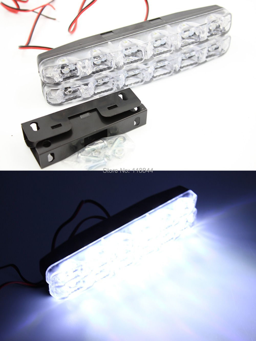 New 2Pcs E4 100% WATERPROOF 6W Car Daytime Running Lights 6 LED DRL Fog lamp bulb Daylight Kit Super White 12V DC 2pcs universal car daytime running lights 8 led drl daylight kit super white 12v dc head lamp free shipping