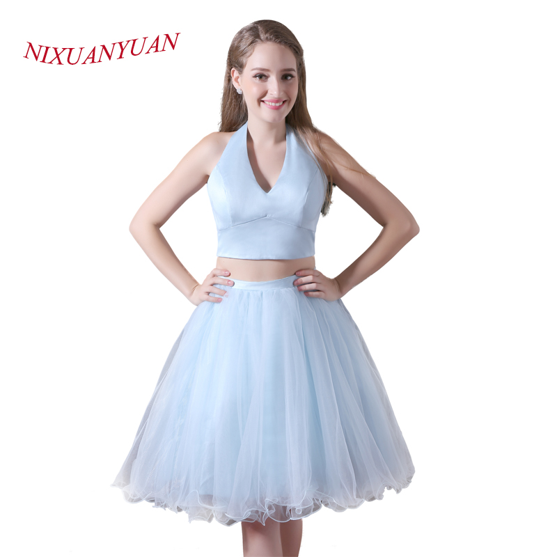 NIXUANYUAN Simple Halter Tulle Party   Dress   Short Two Pieces   Cocktail     Dresses   2017 Sexy vestidos de   cocktail   Real Photo