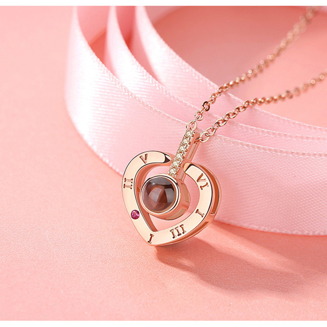 Romantic Love Memory Wedding Necklace Rose Gold&Silver 100 languages I love you Projection Pendant Necklace 1