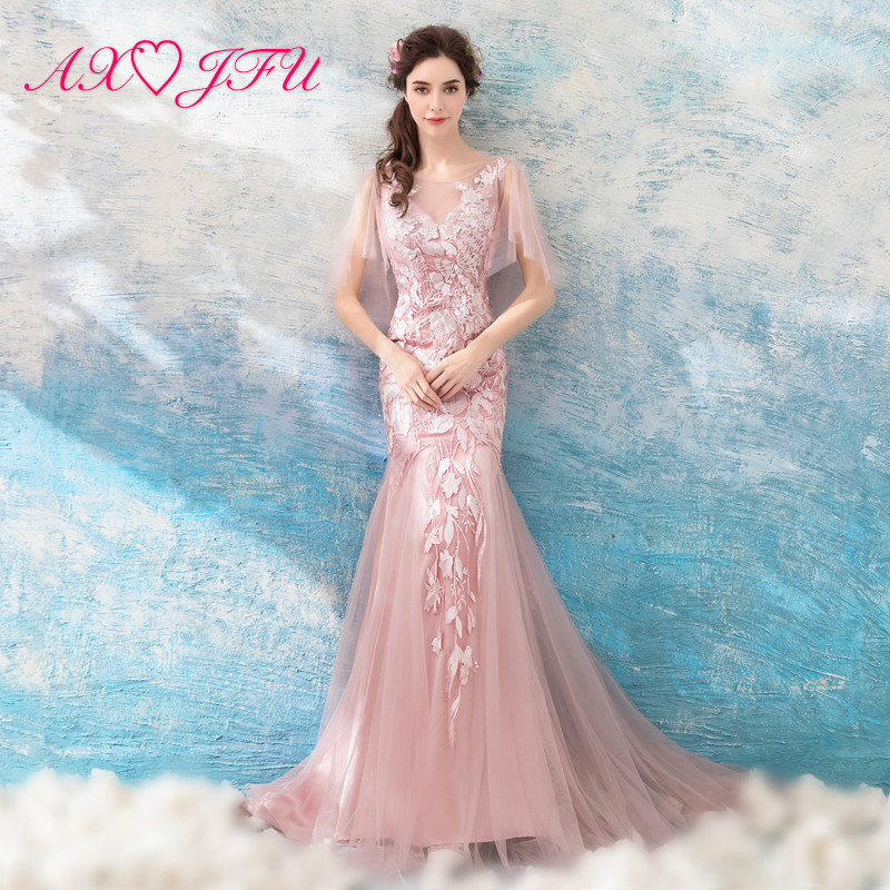AXJFU luxury pink o neck beading mermaid   evening     dress   princess crystal sheer pink fllowr lace trumpet   evening     dress   981t