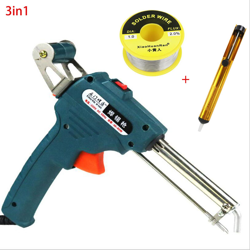 220V 60W Automatic Send Tin Gun Electric Soldering Iron Rework Station Desoldering Pump Welding Tool Solder Wire