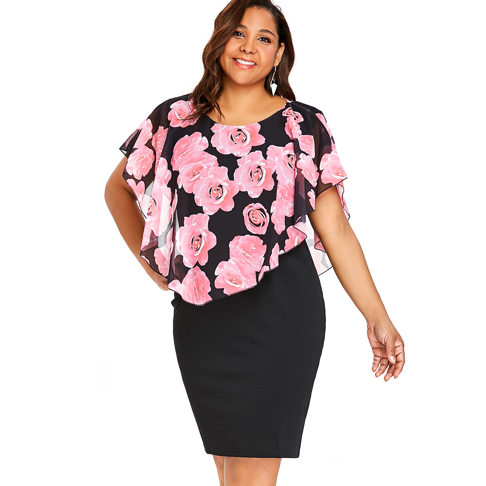 Wipalo Plus Size Rose Valentine Overlay Capelet Dress 2018 Summer O ...