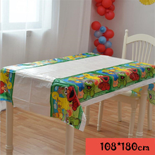 Omilut Elmo Disposable Tablecloth Seasame Street Birthday Party Plates/Cups Childrens Decoration Baby Shower Supplies