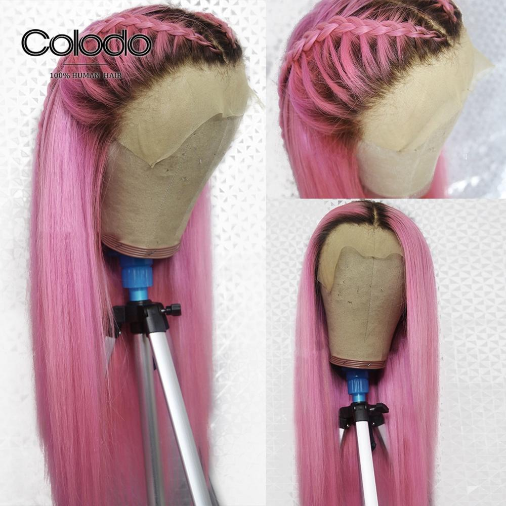 COLODO Pink Lace Front Wig Human Hair Pre Plucked Straight Colored Wig With Natural Hairline Brazilian