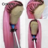 COLODO Pink Lace Front Wig Human Hair Pre Plucked Straight Colored Wig With Natural Hairline Brazilian Remy Ombre Wigs For Women