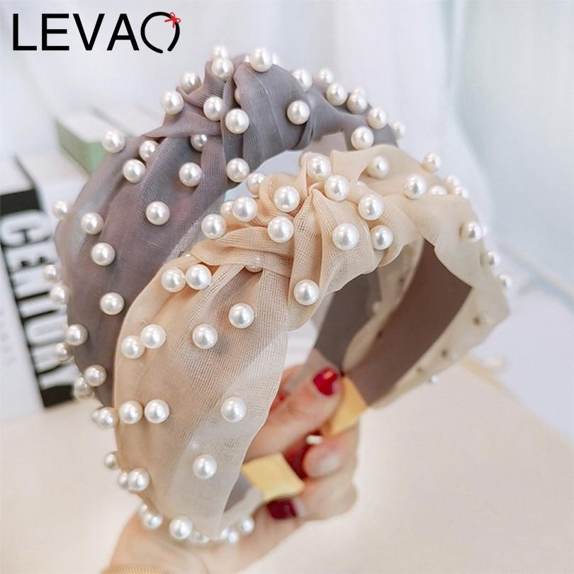 LEVAO Korean Pearl Headband Lace Mesh Hairband Knot Bezel Turban Girls Headwear Women Ladies Fashion Hair Accessories Hair Hoop