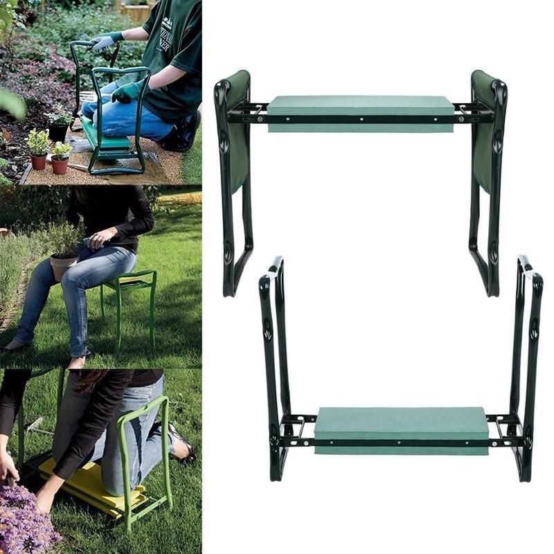 Siège de jardin pliant genouillère à genoux repose-coussin extérieur avec pochette à outils, chaise de plage de pelouse avec coussin en mousse Eva