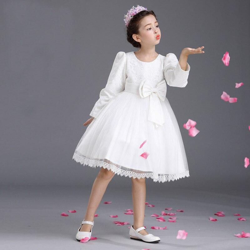 Őszi hercegnő fél fehér menyasszonyi ruhák gyerekek csípős íj - Gyermekruházat - Fénykép 5
