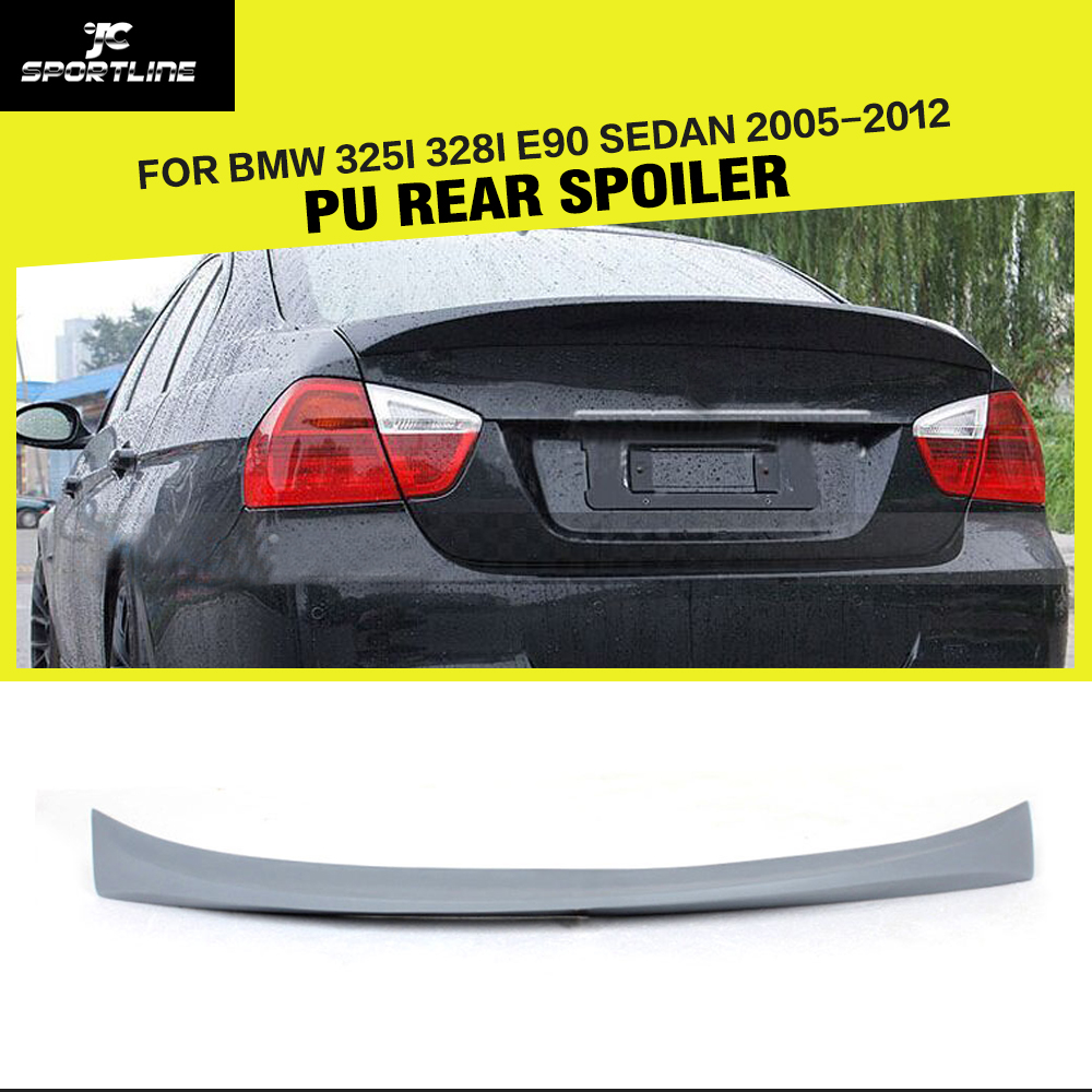 Car-Styling PU Rear Trunk Boot Lip Spoiler Wing for BMW 3Series E90 325i 328i E90 Sedan 2005 - 2012 image