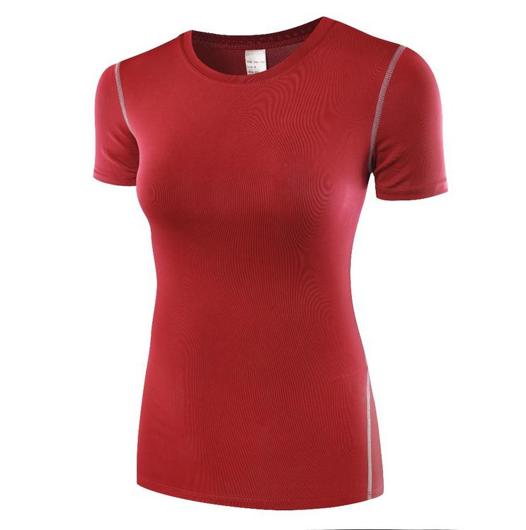 HOT 2017 Summer women Sport Fitness Short sleeve Pro training High elastic Base Layer close fitting