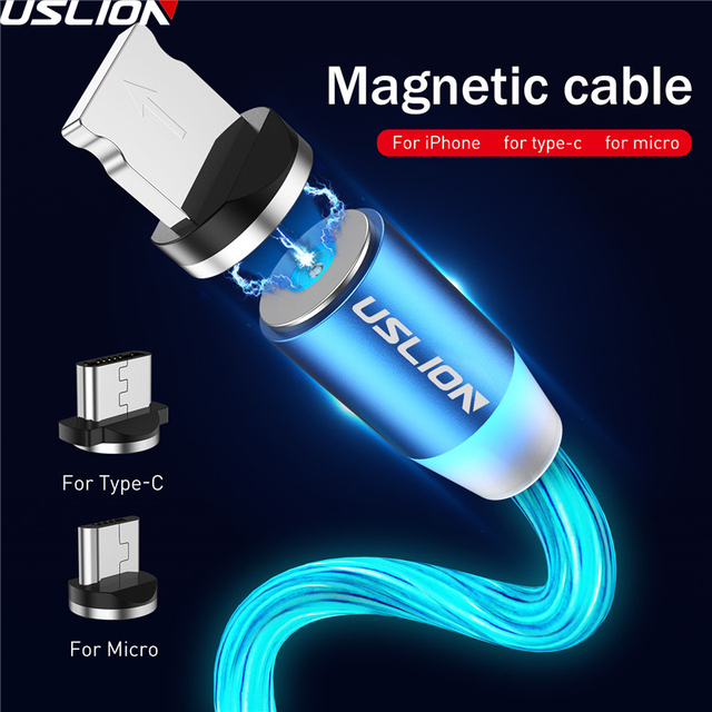 USLION المغناطيسي LED ضوء كابل شحن سريع المغناطيس مايكرو USB نوع C كابل LED سلك الحبل نوع C شاحن آيفون سامسونج S10