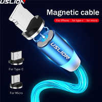 USLION Magnetic LED Light Cable Fast Charging Magnet Micro USB Type C Cable LED Wire Cord Type-C Charger For Iphone Samsung S10