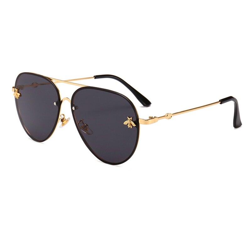 GemäßIgt Unisex Pilot Sonnenbrille Vintage Metall Quadratischen Rahmen Brille Neue 2018 Mode Luxus Little Bee Design Europa Amerika Oculos L3
