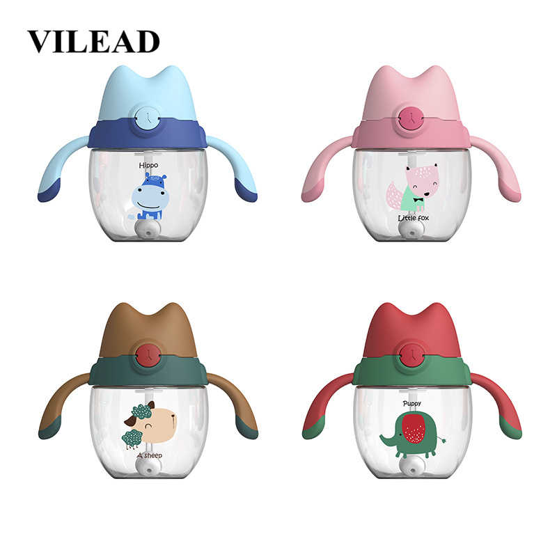 VILEAD 300ml Plastic Cute Cat Child Sippy Cup Water Bottle With Scale Baby Milk Shake Cup Bouncing Cover Back Bag Water Cup Gift
