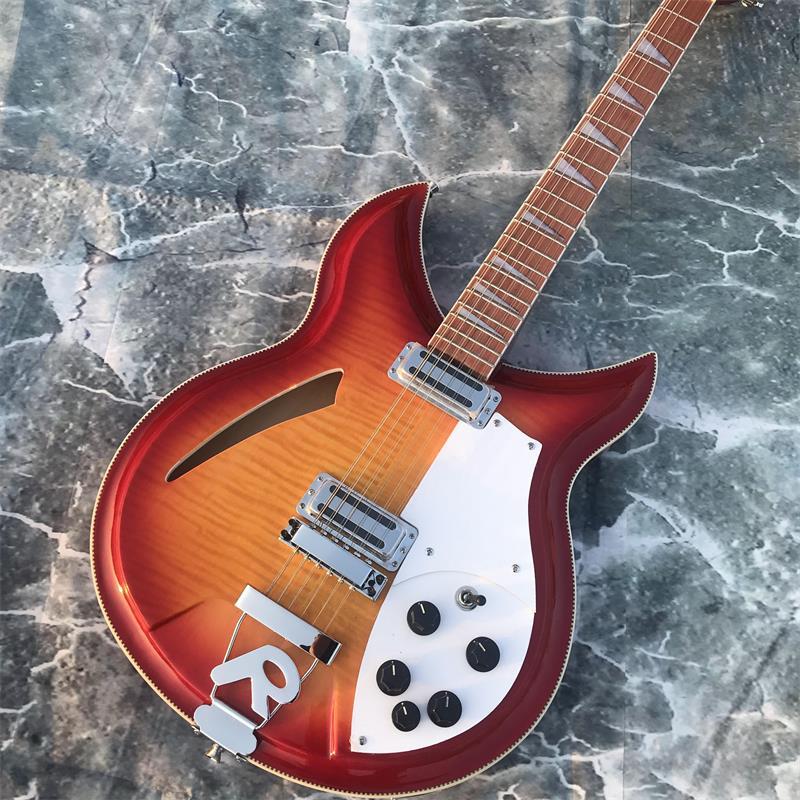 Guitare 12 cordes, guitare électrique Rickenback 360, MapleTop flammé Double face, touche palissandre a la brillance du vernis sur i