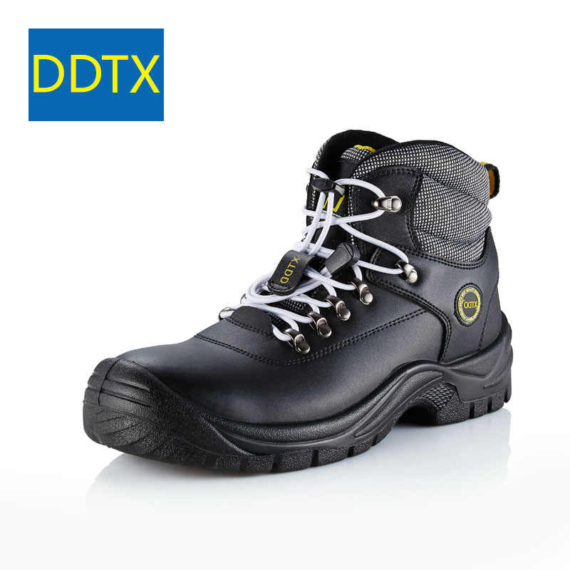 1a739bb957c6 DDTX Steel Toe Safety Boots Shoes Men Anti Puncture SBP Genuine Leather Work  Boots Water Proof