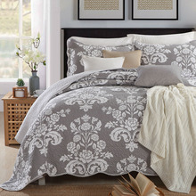 Quality Grey Printed Quilt Set 3PCS bedding Wash Cotton Quilts Aircondition Bedspread for Bed Covers King Size Coverlet Blanket все цены