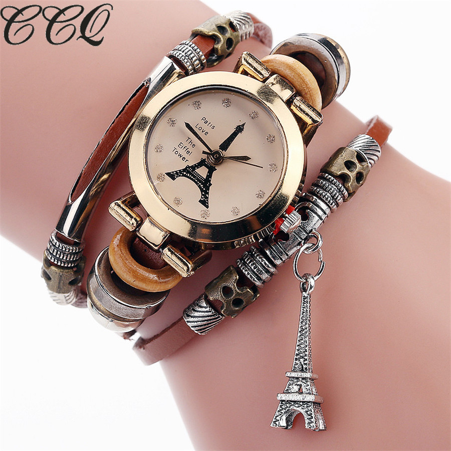 CCQ Fashion Vintage Cow leather Bracelet Eiffel Tower Watches Casual Women Crystal Tower Pendant Quartz Watch Relogio Feminino ccq brand fashion vintage cow leather bracelet roma watch women wristwatch casual luxury quartz watch relogio feminino gift 1810