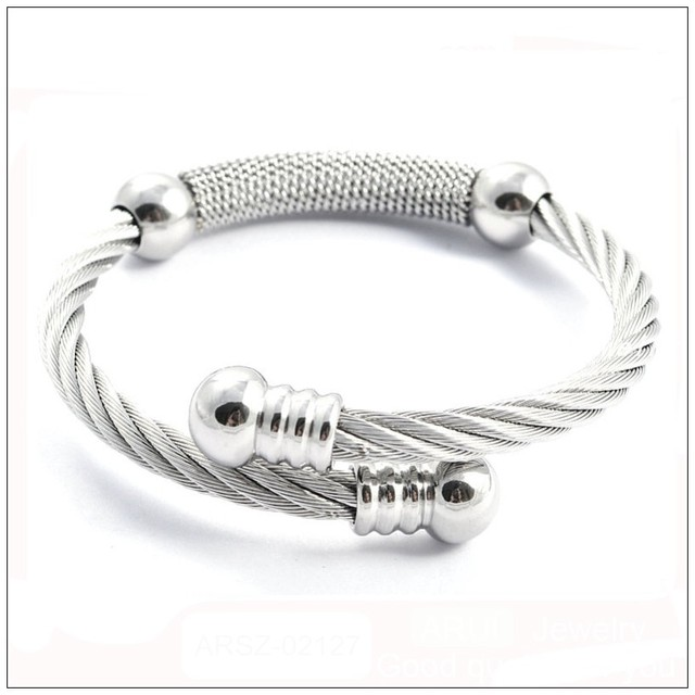 Free Shipping Fashion Jewelry 316l Stainless Steel Silver Wire Winding Cuff Bracelets Bangles For Women Men
