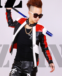 S-4XL ! Mens fashion DJ nightclub singer GD Black and white red stitching motorcycle leather jacket coat costumes clothing