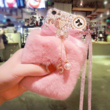 Bling Crystal Fluffy Rabbit Fur Case Winter Soft Case Bling Crystal Fur Shell for Iphone 12 mini 11 Pro Max X XR XS MAX 7 8PLUS