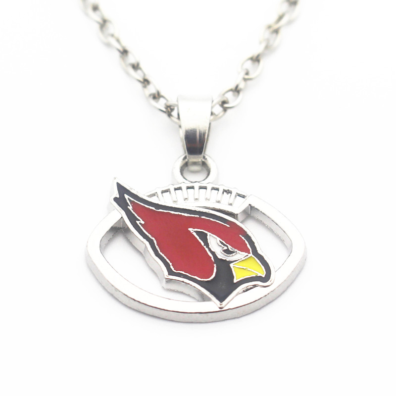 Wholesale 10pcs/lot 20 Inch Chains Necklace Silver Football Arizona Cardinals Pendant Necklace For Men Sports Necklace Jewelry
