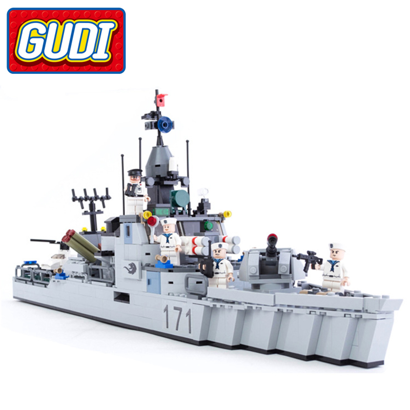 цена GUDI Military Frigate Building Blocks Army Battleship Boat Helicopter Mighty Missile 693pcs Bricks Educational Toys for Children