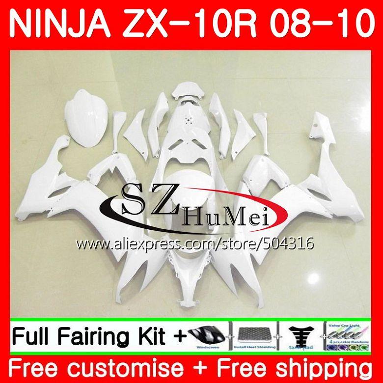 Bodywork For KAWASAKI Glossy white NINJA ZX 10 R ZX10R ZX1000C 18SH8 ZX 10R 08 09 10 ZX1000 ZX 10R 2008 2009 2010 Fairings kit