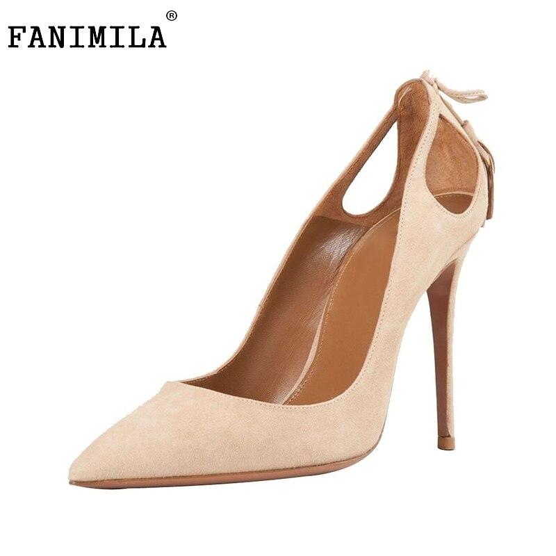 Women High Heel Shoes Elegant Flock Pointed Toe Thin Heels Pumps Tassel Wedding Dress Shoes Woman Heeled Footwear Size35-46 B172