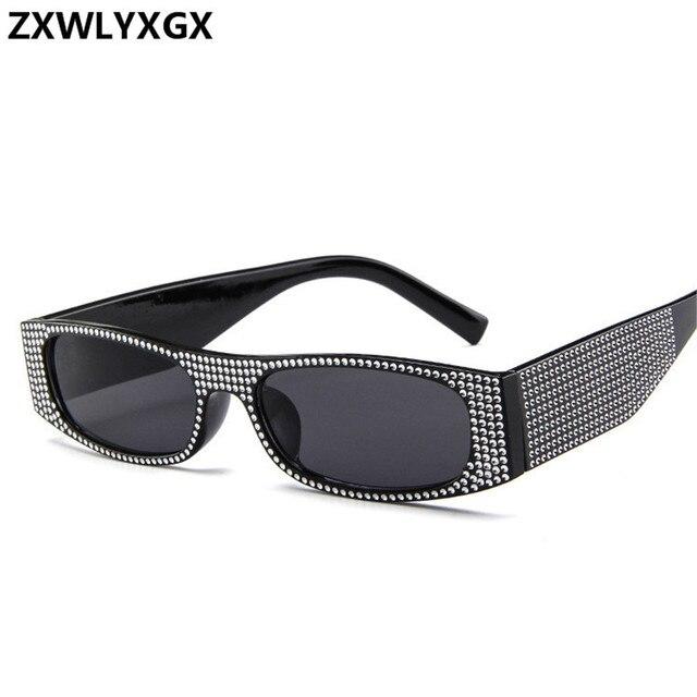 ZXWLYXGX Small square fashion sunglasses Retro evening glasses cross-border hot sunglasses women brand designer blue sea UV400