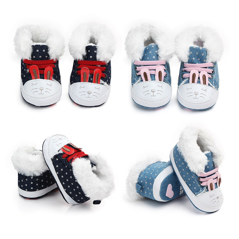 Winter First Walker Newborn Baby Girl  Plus Velvet Warm Shoes Princess Kids Baby Shoes Children Shoes