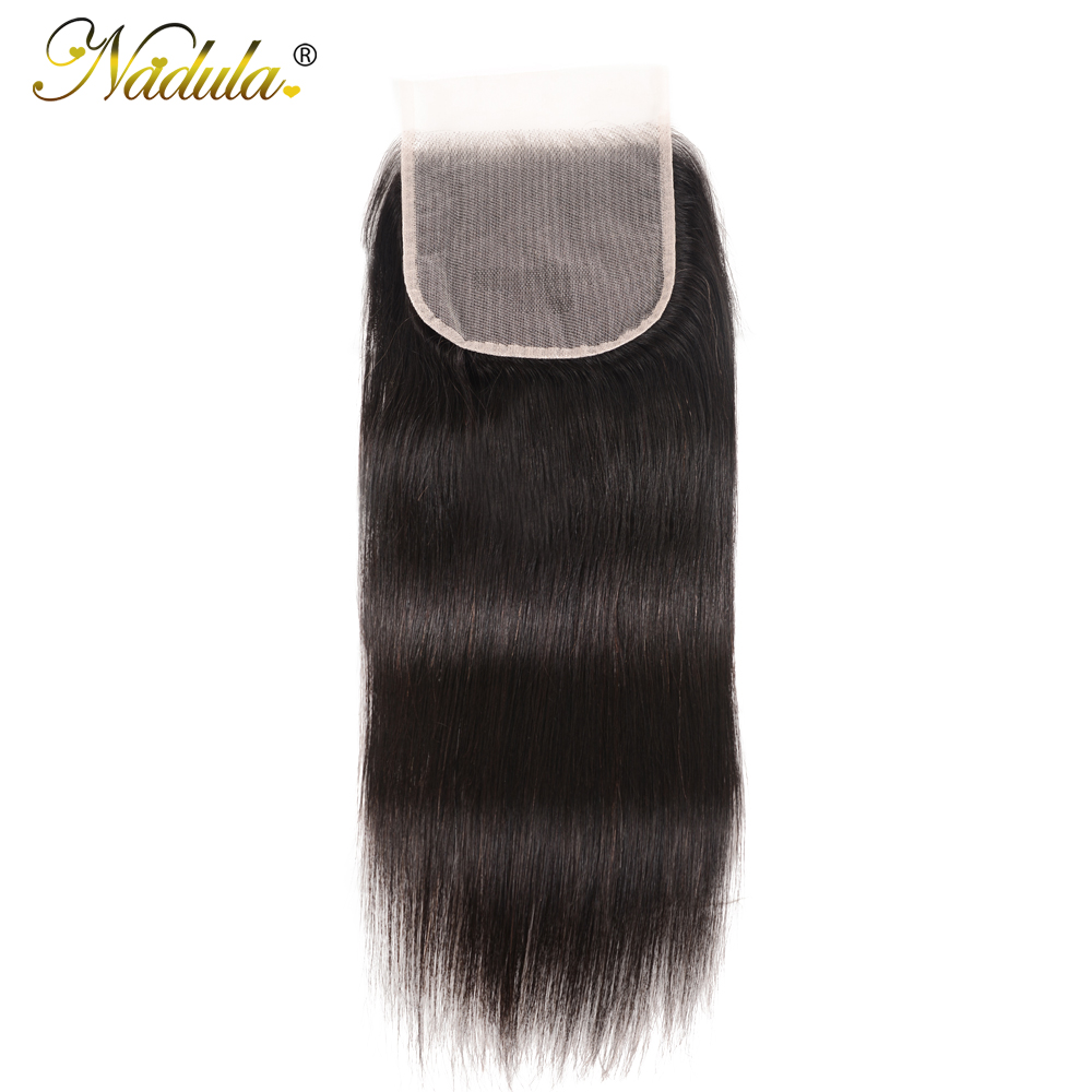NADULA HAIR Lace Closure 5x5 Straight Human Hair Closure Transparent Lace / Medium Brown Brazilian Straight Hair Closure(China)