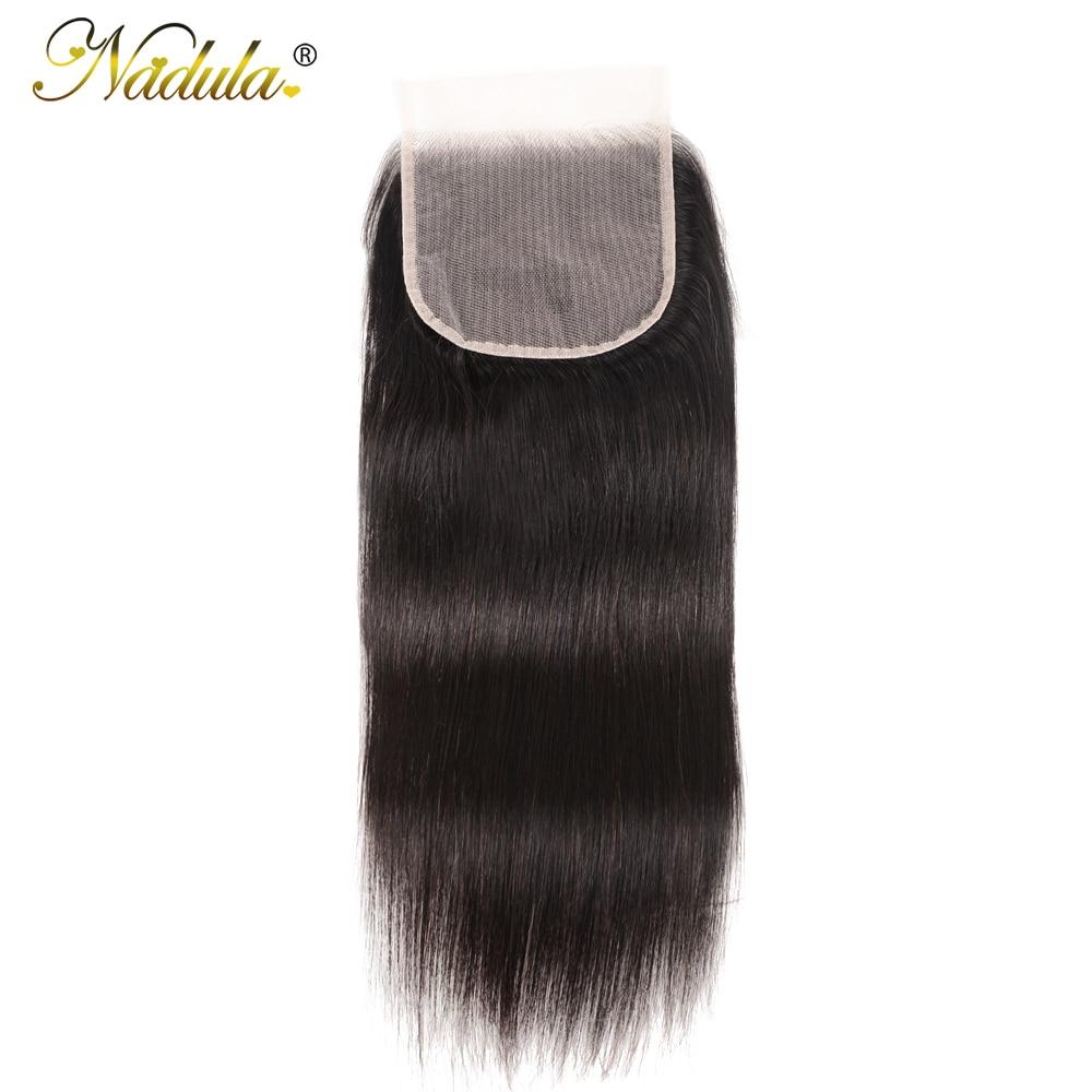 NADULA HAIR Lace Closure 5x5 Straight Human Hair Closure Transparent Lace / Medium Brown Brazilian Straight Hair Closure