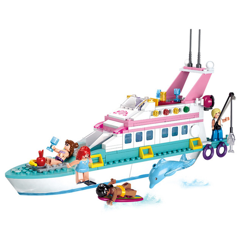 323Pcs Models Toy 0609 Girl Friends Pink Dream Luxury Yacht Building Blocks Set Compatible With Legoed Series Toys & Hobbies 2017 new aiboully 10170 friends series girls housework time panorama minis set building blocks girl toys compatible with 3185