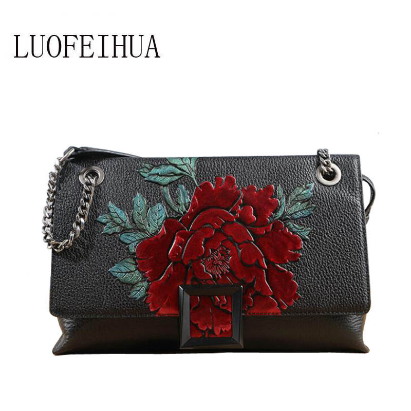 LUOFEIHUA  2019 new national wind embossed leather ladies bag leather Messenger bag Chain bag Small square packageLUOFEIHUA  2019 new national wind embossed leather ladies bag leather Messenger bag Chain bag Small square package