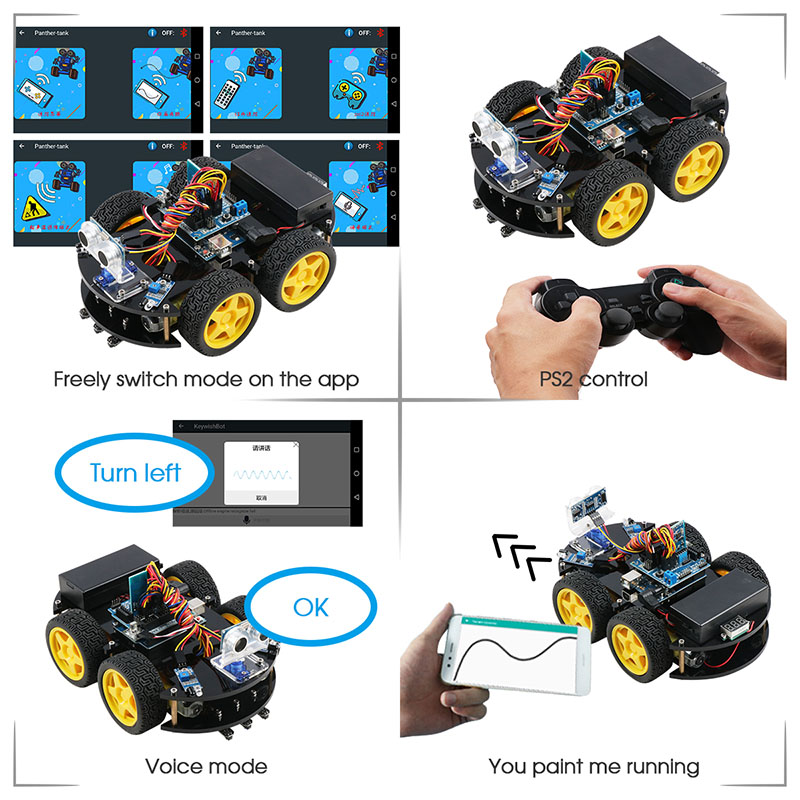 Image 3 - Keywish 4WD Robot Cars for Arduino Starter Kit Smart Car APP RC Robotics Learning Kit Educational STEM Toy Kid Lesson+Video+Code-in Integrated Circuits from Electronic Components & Supplies
