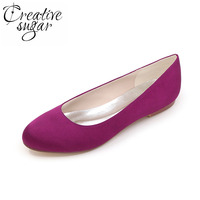 Simple Concise Design Woman Wedding Party Satin Dress Shoes Flats Ladies Slip On Bridalmaids Bridal Shoes