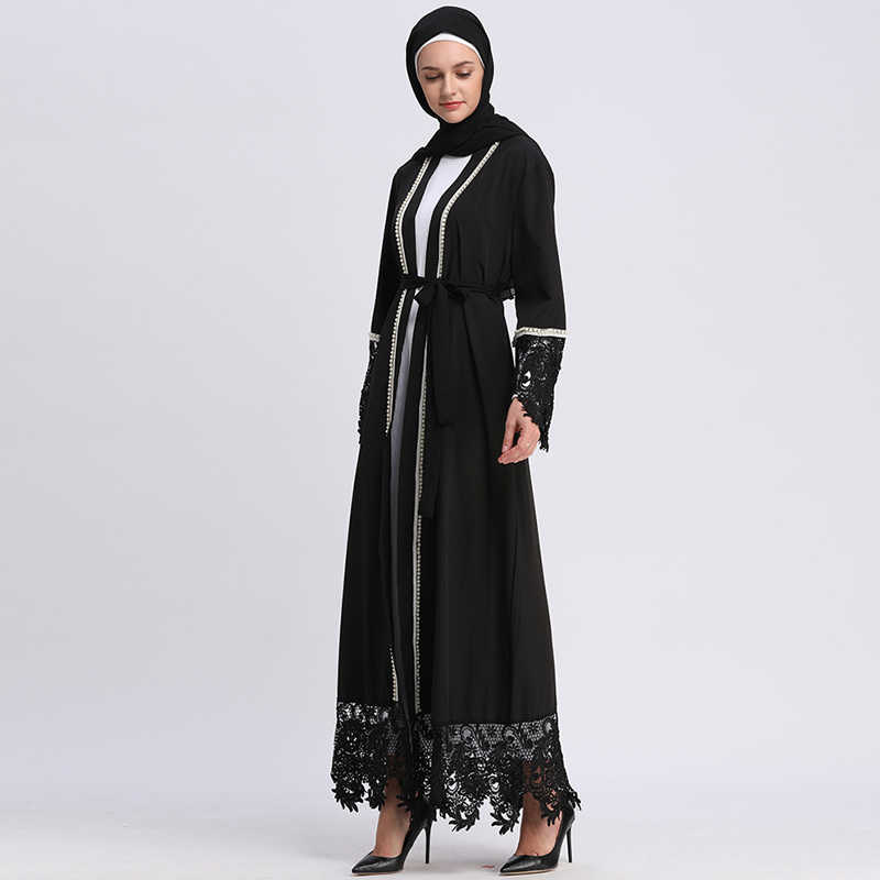 e1e3b1487e078 Lace Black Abaya Dubai Islam Bangladesh Muslim Hijab Dress Kaftan Abayas  Women Caftan Turkish Islamic Clothing Ramadan Elbise
