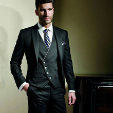 Italian Black Men Suits for Wedding Blazers Slim Fit Terno Masculino Costume Homme Groom Wear Tuxedos 3Piece Prom Party