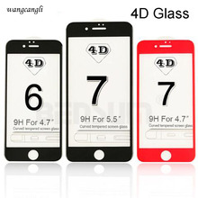 купить Wangcangli 4D round curved edge tempered glass for iPhone7 7plus most complete coverage for iphone7 4d protection tempered glass дешево