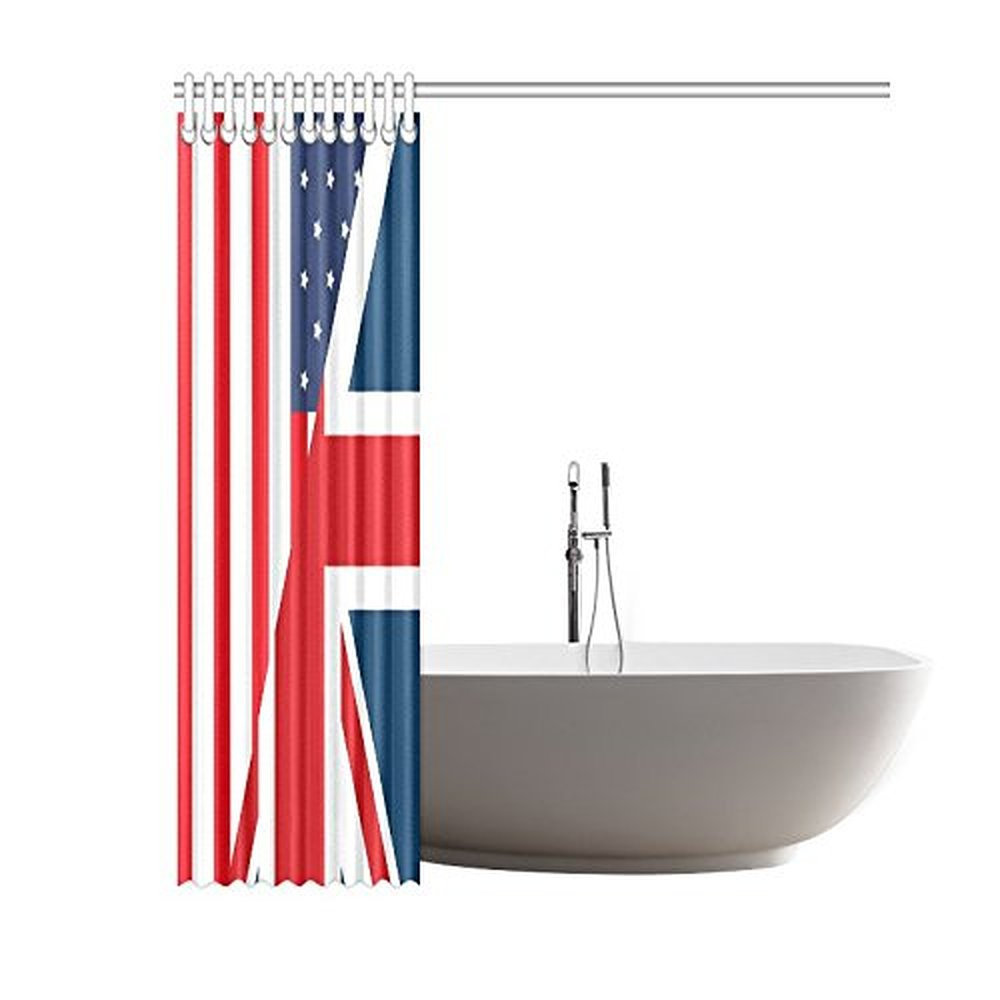 60(Width) x 72(Height) Stylish American and British Flag 100 ...