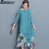 Women Dress Autumn Floral Elegant Silk Dresses Plus Size Large Xxxl Feminine Party Clothing Green Noble