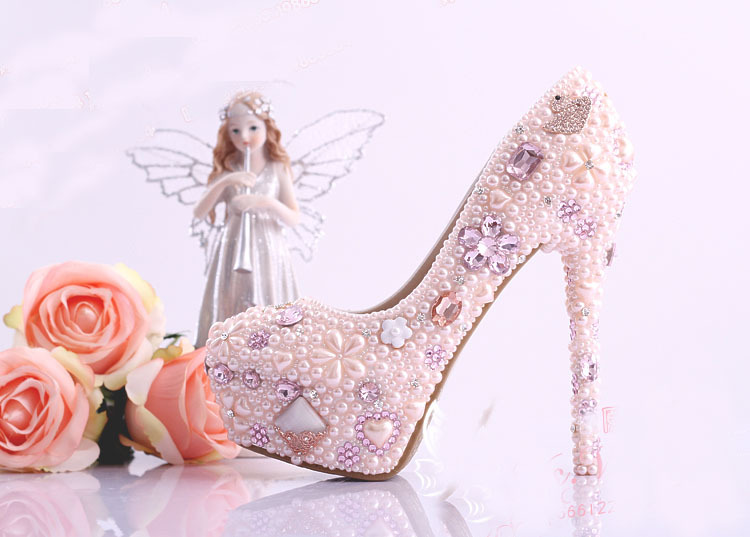 2016 Nicest Pink Imitation Pearl Gorgeous High Heel font b Shoes b font Nightclub Dress font