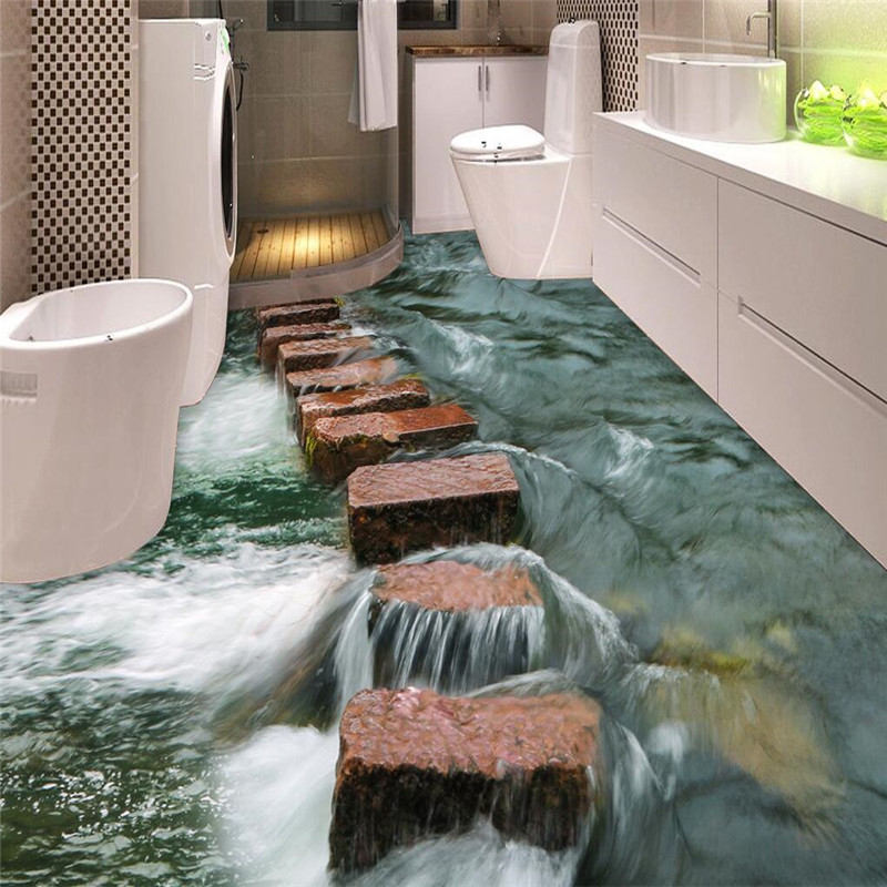 Buy Custom Photo Floor 3d Wallpaper Modern Art River Stones Bathroom Floor