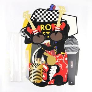 Image 4 - Rock tema festa foto estande adereços 18 pc/set para festa de aniversário fontes música festa vibrações rock & rolo concerto foto prop